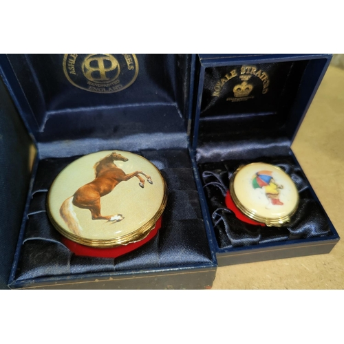 5 - A boxed enamel box byAshley Cooper another similar, a boxed Glen Lodge decanter and another decanter...