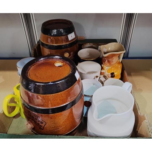 6 - 2 19th Century Doulton Lambeth pottery barrels; a selection of commemorative mugs & a large selectio...