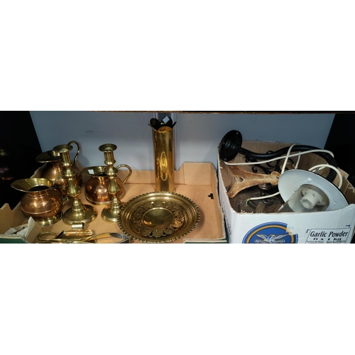 14A - A brass shell casing, other trench art and horse shoes
