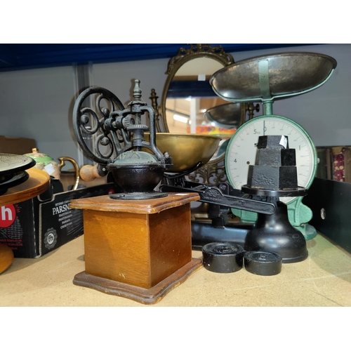 13 - A Victorian style set of kitchen scales; a Salter scale; a coffee grinder; 2 parasols...