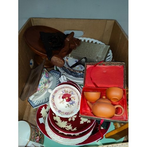 15 - A Japanese part tea set; a modern Dresden fruit bowl; Royal commemorative ware; decorative china...