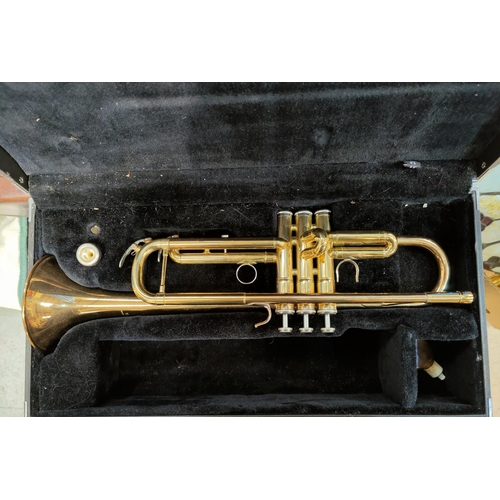 2 - A modern Yamaha trumpet in hard carry case...