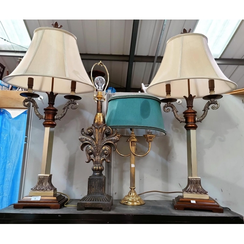 8 - A pair of decorative table lamps; 4 others...