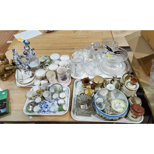 43 - A selection of Royal commemorative and miniature china; A ships decanter; 2 cut water jugs; a 1930's...