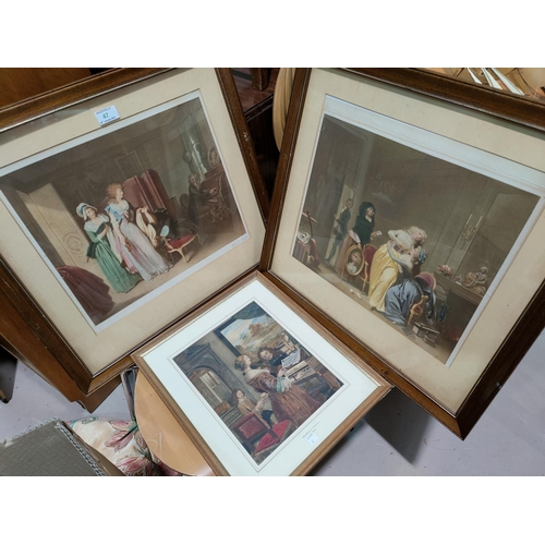47 - A 19th century pair of signed mezzotints, Georgian interior scenes; other pictures and prints...