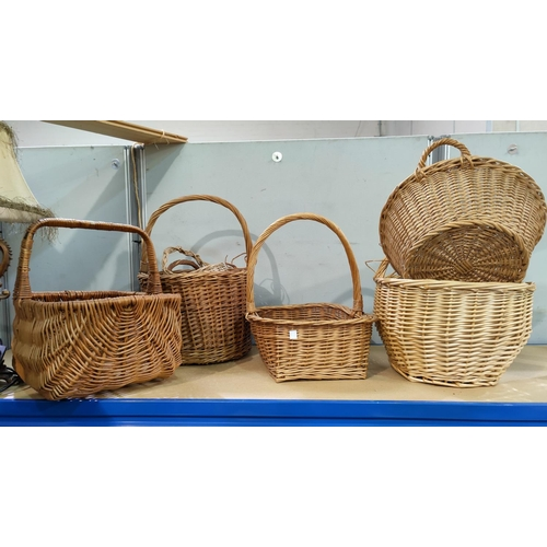 14 - A collection of baskets; 3 'printers trays'; 2 old buckets; knick-knacks; etc....