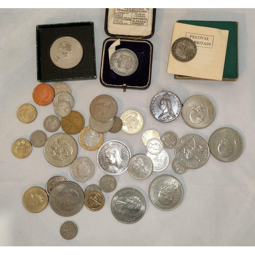 354 - A Victorian double florin 1888, with brooch mounts; a selection of commemorative and other coins...