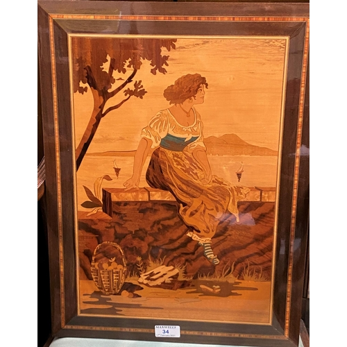 34 - An Italian inlaid wooden Sorrento picture of a woman watching boats at sea 51x38cm...