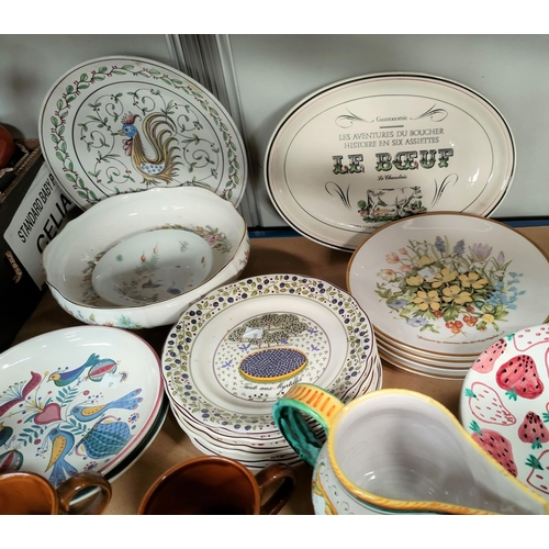 10 - Six French collectors plates; other collectors plates; mugs; etc....
