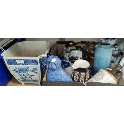 12 - A selection of decorative china; etc.; A 20th century oriental blue & white square jardinière; etc....