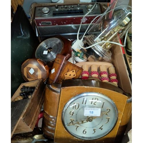 18 - A 1930's mantel clock; treen; decorative items...