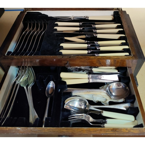 20 - A selection of decorative silver plate and metalware; a canteen of cutlery...