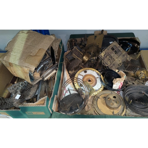 24 - A selection of old clock parts; movements; springs; etc....