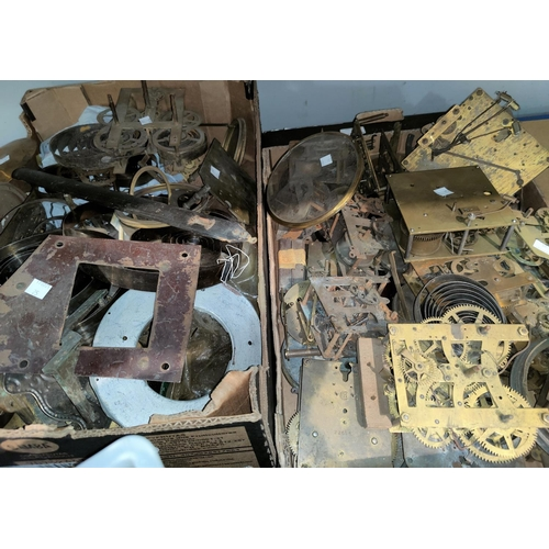 25 - A selection of old clock parts; movements; springs; etc....