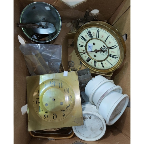 27 - A Vienna wall clock dial and movement (not guaranteed complete); other clock parts; etc....