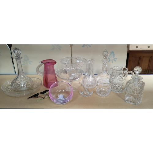 47 - A selection of decanters and other glassware...