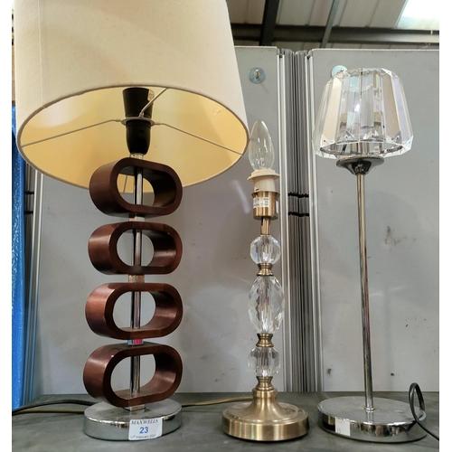 23 - Three modern design table lamps...
