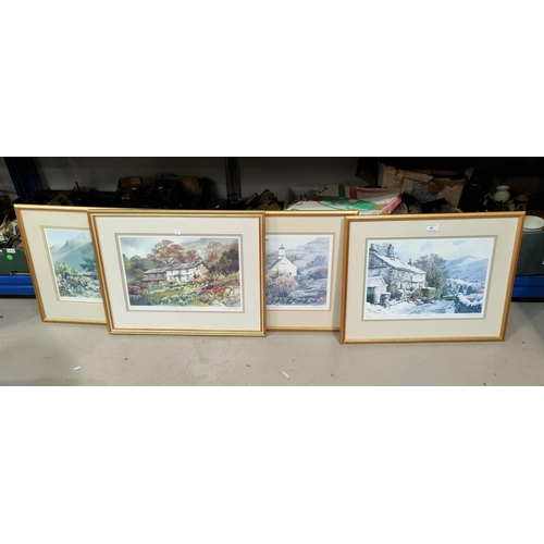 30 - Judy Boyes:  Lakeland cottages, 4 limited edition prints, artist signed, framed and glazed...