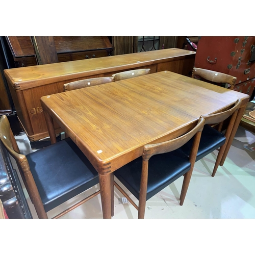 624 - A mid 20th century Danish suite by Bramin, Denmark,  teak dining suite designed by H W Klein, compri...