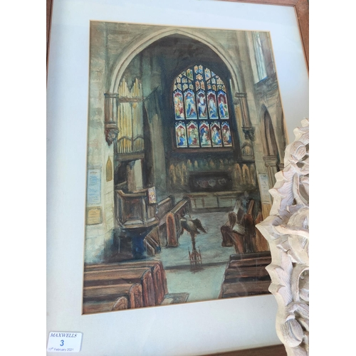 3 - A watercolour of Norbury Church, Hazel Grove; other pictures and mirrors...