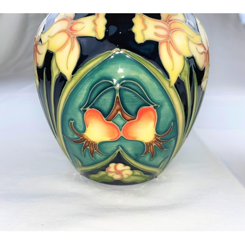 14 - A Moorcroft Carousel pattern ginger jar decorated with daffodils, rosehips & primroses height impres...