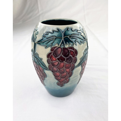 17 - A Moorcroft vase of ovoid form decorated with a grapevine impressed & monogrammed  height 13.5cm