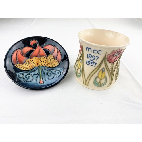 37 - 2 Moorcroft Centennial 1897-1997 pieces including a mug & a pin dish decorated with flowers height 8...