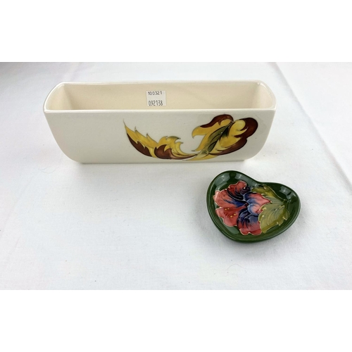 38 - A rectangular Moorcroft plant trough decorated with autumn leaves with original paper label length 2...