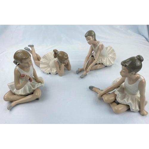 46 - Four Nao figures of girl ballerinas doing floor exercises