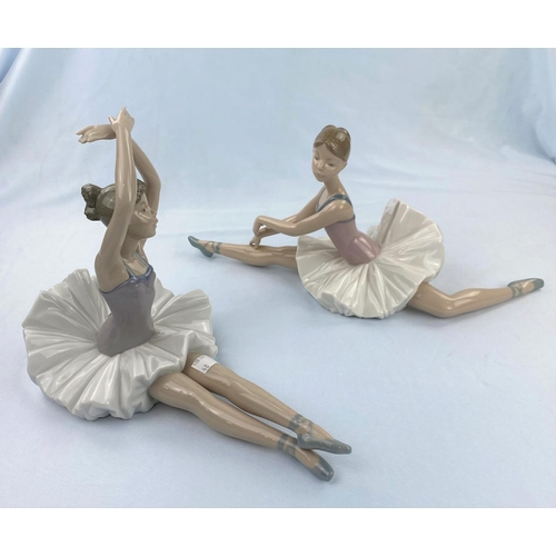 48 - Two large Nao figures of girl ballerinas doing floor exercises