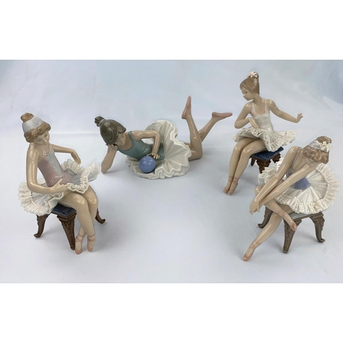 49 - Three Lladro figures of girl ballerinas sitting on chairs; a Nao figure, girl reclining with a ball