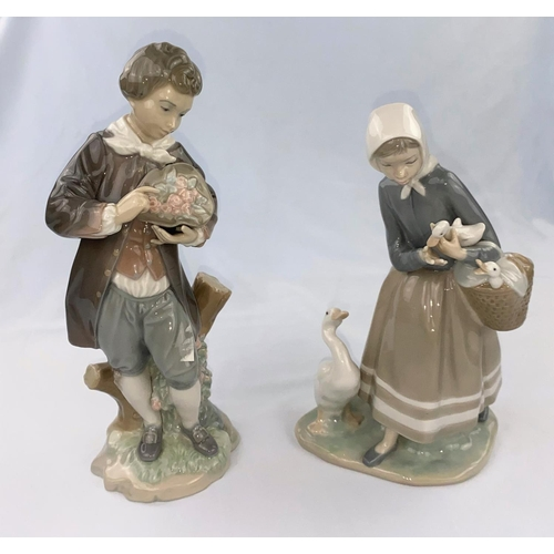 52 - Two Lladro figures  - 19th century boy with flowers height 27cm, girl with duckling height 24cm