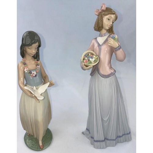 53 - A Lladro Collector's Society figure girl with basket of flowers, a Lladro figure girl with dove