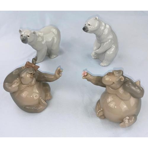 59 - Two Lladro polar bear figures, 2 Nao chimpanzees