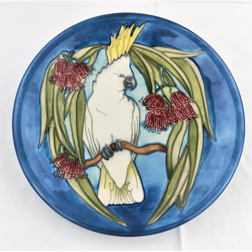 4 - A Moorcroft Ltd edition plate Sulphur Crested Cockatoo, 25/350 diameter 25cm with cert (seconds line...