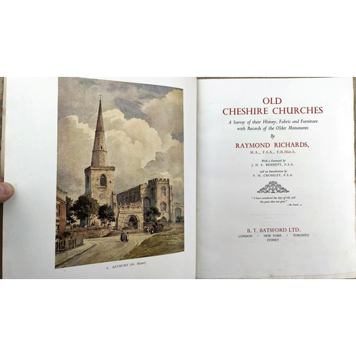 284 - RICHARDS (Raymond) - Old Cheshire Churches, large paper copy in full calf with illustrated dedicatio...