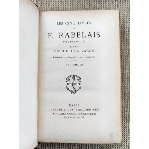 298 - RABELAIS (F) - Les Cing Livres, 4 vols, quarter leather marbled boards c 1890...