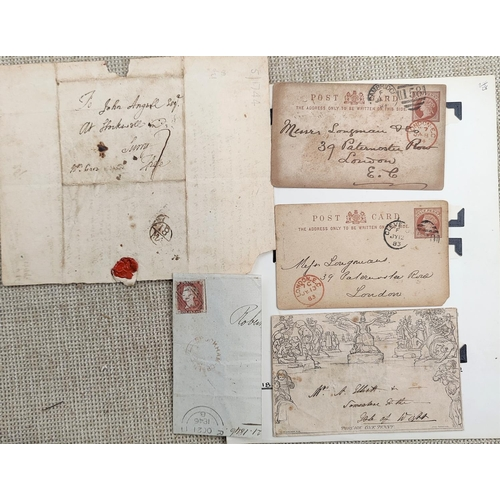 731 - GB - A Mulready envelope, 1840, and 18th century pre postal letter, 3 other items...