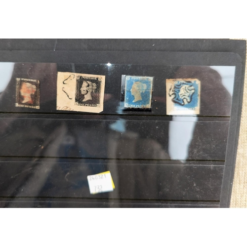 732 - GB - A Penny Black on piece, another 7 2d blue imperf and a collection of GB stamps in stockbook...