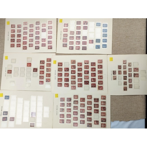 733 - GB - 2 Penny Black stamps, a 2d blue, a selection of 1d red plate examples etc...