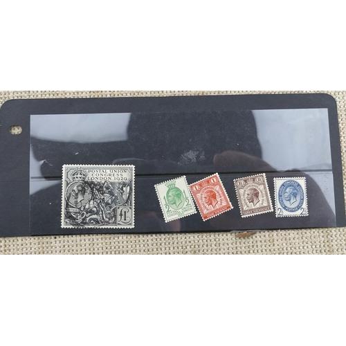 739 - GB - GV Postal Union Congress 1929, £1 used, + mint low values...