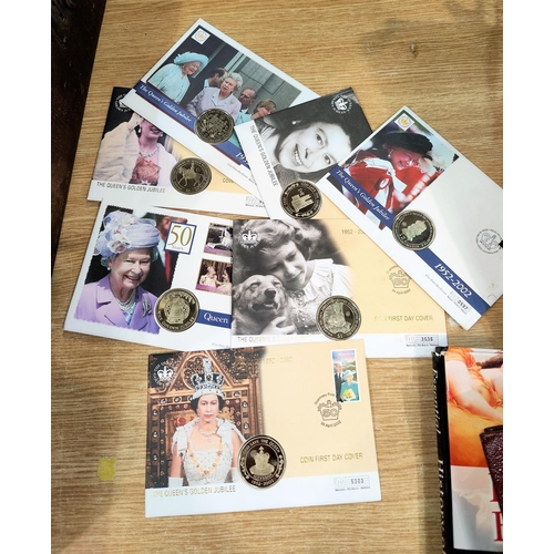 757 - Seven QEII Golden Jubilee Commonwealth coin / stamp covers...