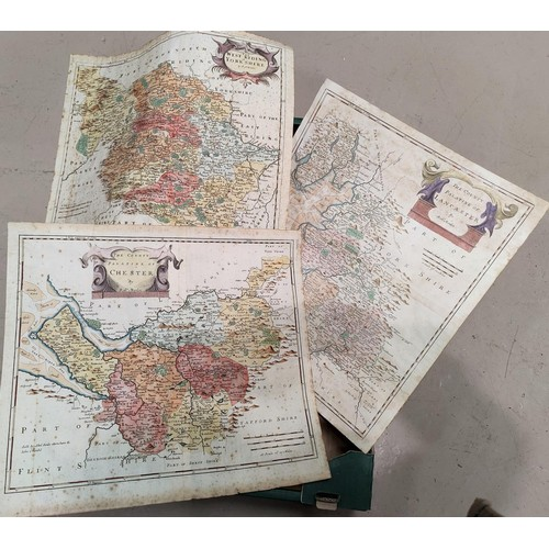 276 - Three 18th century Robert Morden maps: Yorkshire, Lancaster and Chester, later hand colouring (some ...