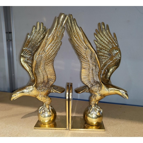 15 - A pair brass of eagle bookends made in England