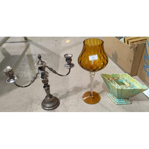 19 - A 1930's Wedgwood figure:  Eileen; other figures; a Georgian style silver plated candelabrum; decora...