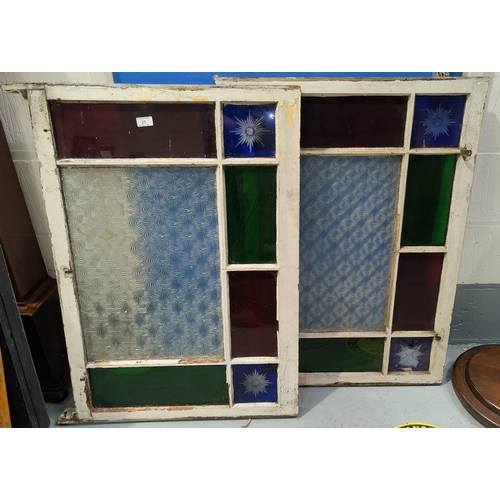 23 - Two multiple pane windows with coloured glass panels (2 small quarter blue panes a.f.)