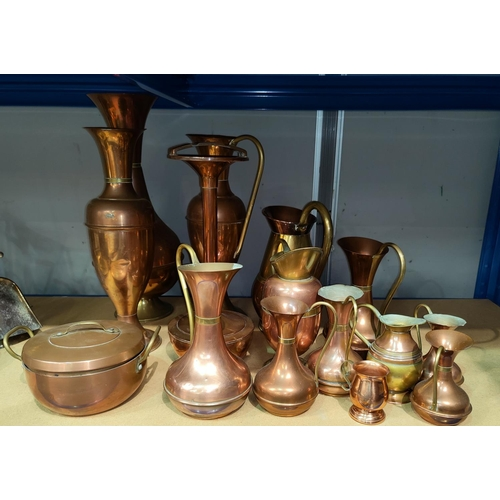 37 - A selection of copper and brass ornaments