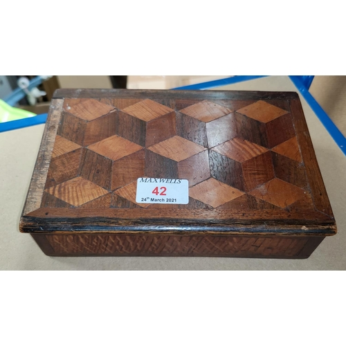 42 - A 19th century box with parquetry lid; 3 other boxes