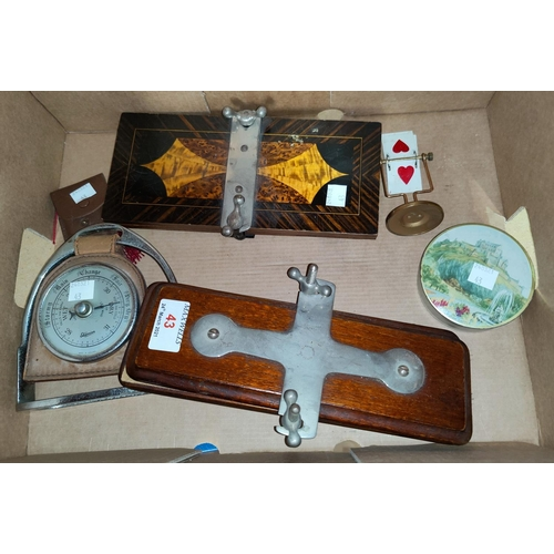 43 - A selection of collectables:  2 tie presses; bridge marker and pencils; stirrup barometer; etc.