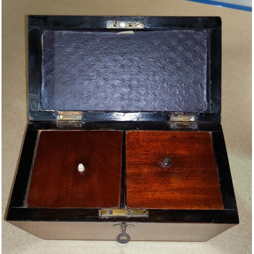 45 - An early 19th century mahogany tea caddy, sarcophagus shaped with 2 divisions